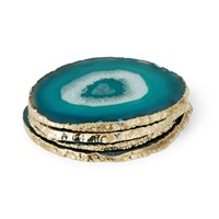 Aerin Set Of 4 Agate Coasters Teal