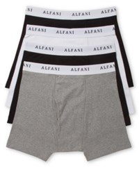 Alfani Men's 4 Pack. Cotton Boxer Briefs Only At Macy's Grey White Black