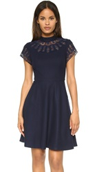 Susana Monaco Sia Embroidered Wool Dress Midnight