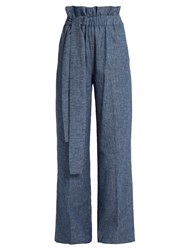 Msgm Chambray Paperbag Waist Wide Leg Trousers Denim