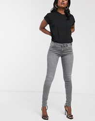 Replay Luz High Waist Skinny Jeans With Open Hem In Dark Grey No Colour