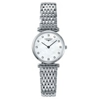Longines L42094876 'S La Grande Classique Diamond Bracelet Strap Watch Silver Mother Of Pearl