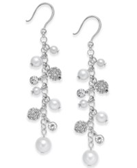 Charter Club Silver Tone Imitation Pearl And Crystal Vine Earrings Only At Macy's