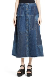 Mcq By Alexander Mcqueen Women's Patchwork Denim Midi Skirt