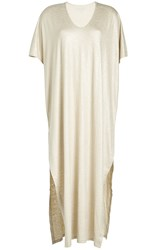 Majestic Maxi Dress With Linen And Silk Gold