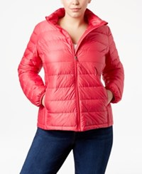 32 Degrees Plus Size Packable Down Puffer Coat Virtual Pink