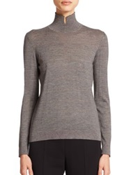 Akris Cashmere And Silk Striped Mockneck Pullover Granite