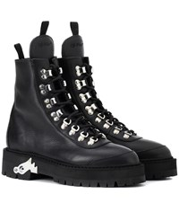 Off White Leather Hiking Boots Black