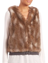 Splendid Ashville Reversible Faux Fur Vest Neutral Multi