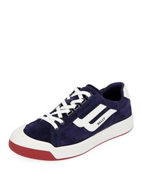 Bally New Competition Suede Retro Low Top Sneakers Dark Blue