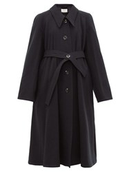 Christophe Lemaire Belted Wool Canvas Coat Navy