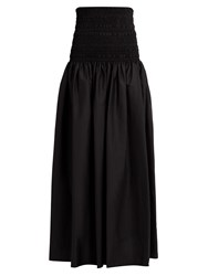 The Row Cial Cotton Blend Poplin Maxi Skirt Black