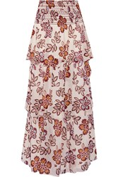 Tory Burch Indie Tiered Printed Silk Georgette Maxi Skirt Ivory