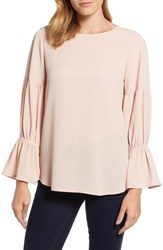 Chaus Smocked Sleeve Blouse Faded Rose