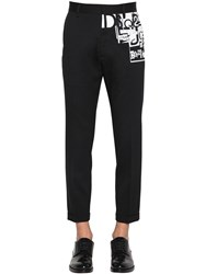Dsquared Printed Stretch Wool Cigarette Pants Black White