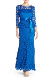 Women's Chetta B Peplum Lace Mermaid Gown Royal