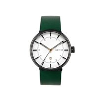 Bravur Watches Black With White Face And Green Strap Gold Green Black