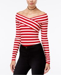 Material Girl Juniors' Striped Off The Shoulder Bodysuit Only At Macy's Lipstick Red