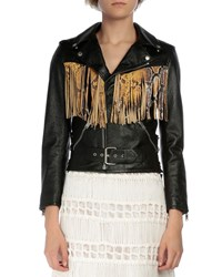 Saint Laurent Leather Moto Jacket W Fringe Black Yellow Women's