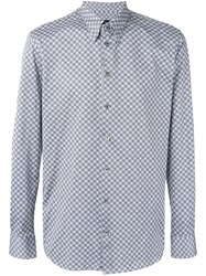 Giorgio Armani Patterned Two Tone Shirt Grey
