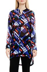 Vince Camuto Women's 'Graphic Map' Band Collar Tunic Blouse Rich Black