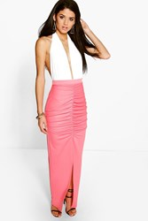 Boohoo Rouched Front Split Maxi Skirt Coral