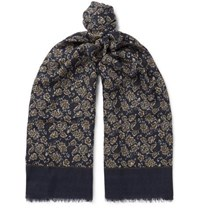 Isaia Fringed Floral Print Cashmere And Wool Blend Scarf Navy