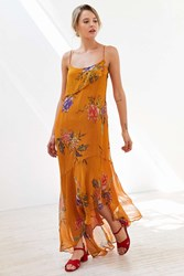 Ecote Hooka Floral Chiffon Midi Slip Dress Yellow