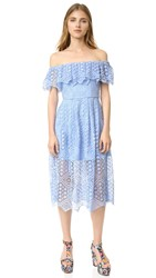 Cynthia Rowley Floral Mosaic Midi Dress Slate Blue