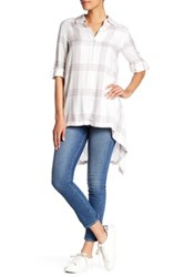 Max Studio Hi Lo Plaid Shirt White
