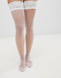 Ann Summers Lace Top Glossy Hold Up White