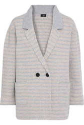 Line Woman Emily Double Breasted Striped Brushed Felt Blazer Taupe