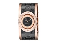 Gucci Twirl Black Rose Pvd Black Calf Gg Leather Black Pink Gold Watches