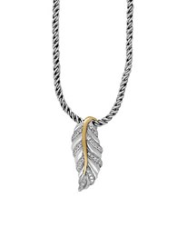 Effy 925 Sterling Silver 18K Yellow Gold And Diamond Leaf Pendant