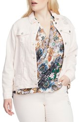 Rachel Roy Plus Size Destroyed Denim Jacket Carnation