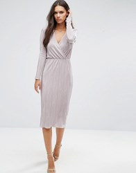 Asos Pencil Pliss Dress With Wrap Detail Brown