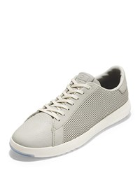 Cole Haan Grandpro Perforated Leather Tennis Sneakers Gray