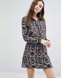 Lavand Kaleidoscope Print Shirt Dress Black Multi