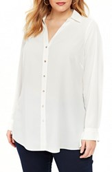 Evans Plus Size Textured High Low Shirt Ivory