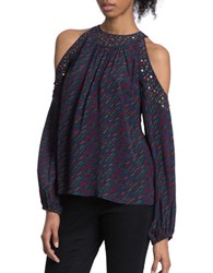 Plenty By Tracy Reese Embellished Cold Shoulder Blouse Navy Multi