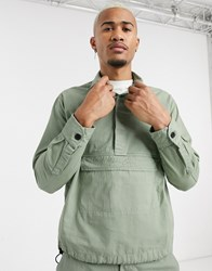 Mennace Ripstop Overhead Shirt With Pocket In Green