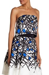 Milly Abstract Strapless Shirt Blue