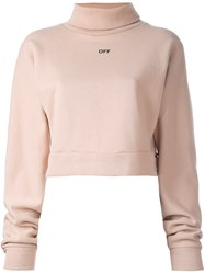 Off White 'Off Stamp' Turtleneck Sweatshirt Nude And Neutrals