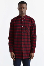 Zanerobe Seven Foot Plaid Flannel Button Down Shirt Red