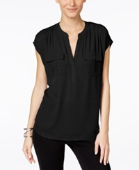 Inc International Concepts Petite Mixed Media Utility Shirt Only At Macy's Black