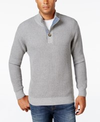 Weatherproof Vintage Men's Big And Tall Mock Turtleneck Button Sweater Light Grey Heather