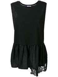 P.A.R.O.S.H. Embroidered Peplum Tank Women Cotton L Black