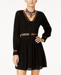 American Rag Embellished Illusion Fit And Flare Dress Only At Macy's Classic Black