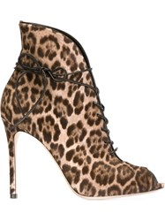 Gianvito Rossi Leopard Print Booties Brown