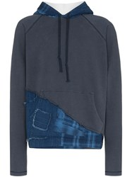 Greg Lauren Contrast Hood Distressed Checked Jumper Blue